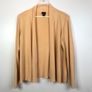 Eileen Fisher Silk Blend Open Front Cardigan Large